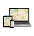 Digital devices with gps navigation map vector image vector image