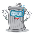 diving trash character cartoon style vector image vector image