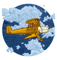 drawing of airplane stylized as engraving vector image vector image