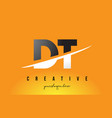 dt d t letter modern logo design with yellow vector image vector image