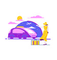 flat beautiful young woman with luggage summer vector image vector image