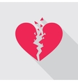 Flat icon of Broken heart in red color vector image