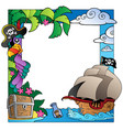 frame with sea and pirate theme 4 vector image vector image
