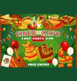 happy cinco de mayo mexican party food and flags vector image vector image