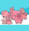 happy pigs farm animal cartoon characters vector image vector image