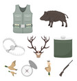 hunting set icons in cartoon style big collection vector image vector image