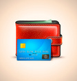 Leather Wallet with Credit Card vector image vector image