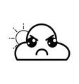line kawaii cute angry cloud and sun vector image vector image