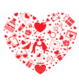 Love Icons in Heart Shape vector image vector image