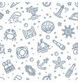 Marine seamless pattern with line icons