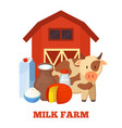 milk farm poster and cow vector image