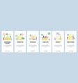 mobile app onboarding screens hotel building vector image