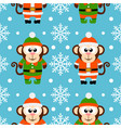 new year seamless card with monkeys vector image vector image