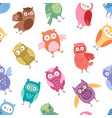 owls cartoon cute bird set cartoon owlet vector image