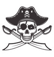 pirate skull in hat eyepatch vector image vector image