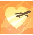 Plane flies through the clouds in shape of heart vector image