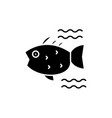 sea fish black icon sign on isolated vector image