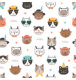 seamless pattern with cute funny cat faces vector image vector image