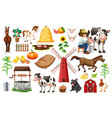 set farm objects vector image vector image