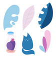 set leaves cat cactus in pastel colors vector image