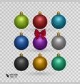 set of colorful christmas balls on transparent vector image vector image