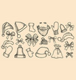 set of santas hats vector image vector image