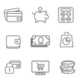 Shopping 9 thin icons set vector image