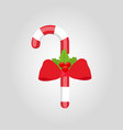 sweet lollipop with red ribbon and holly vector image