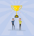 team happy young men icon with shiny golden vector image