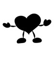 the character is a heart with pens and legs black vector image vector image