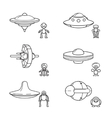 Thin line aliens with spaceships icons vector image vector image