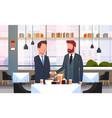 two businessmen handshaking couple business men vector image