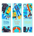 underwater diving sport shop banner poster vector image