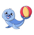 walrus with ball icon cartoon style vector image