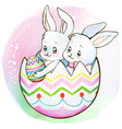 watercolor cute bunnies inside an easter egg shell vector image