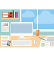 Workplace with computer smartphone and window vector image vector image