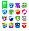 15 modern shield logos design vector image