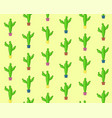 cute cartoon seamless cactus pattern vector image