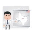Man with a pointer points to a map of TEXAS vector image
