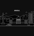 angola silhouette skyline angola city vector image vector image