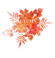 autumn orange leaves imitation of watercolors vector image