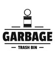 bin trash garbage logo simple black style vector image vector image