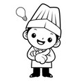 black and white happy cook mascot is a great idea vector image