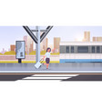 businesswoman running to catch train business vector image vector image