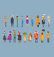 cartoon flat people characters set freezing vector image
