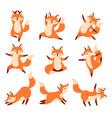 cartoon fox in yoga poses healthy gymnastics vector image