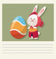 cartoon happy easter cute girl bunny egg vector image vector image
