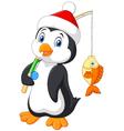 Cartoon penguin fishing isolated