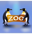 Cartoon penguins holding zoo plate vector image
