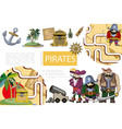 cartoon pirates adventure composition vector image vector image